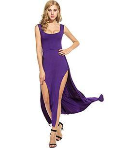 d8d3956bb0e Meaneor Womens Sexy U Neck Sleeveless Side Slit Club Beach Maxi Dress  PurpleM