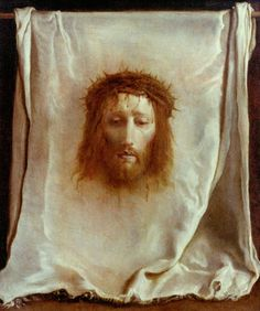 According to the Catholic Stations of the Cross, there was once a woman who wiped the sweat and blood from the face of Jesus Christ with a cloth as he endured the torturous walk carrying his own cr Veil Of Veronica, St Veronica, Catholic Art, Religious Art, Roman Catholic, Jesus Optical Illusion, Jesus Christus, Saint Esprit, Jesus Face