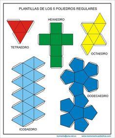 LOS SÓLIDOS GEOMÉTRICOS / DESPLIEGUE Y ARMADO DE LOS SÓLIDOS PLATÓNICOS Los siguientes dibujos muestran la forma desplegada o plana de los sólidos platónicos: