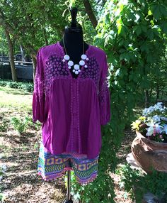 Easter Into Summer | Perfect outfit to take you from Easter into summertime fun! Lace accents on purple top and the Aztec details on the shorts make it a perfect outfit for an Easter Egg Hunt and then again at the beach! | Cheerful Heart Gifts - Granbury, TX