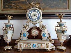 Victoriaans wit albast klokkenstel - 1e periode 1800
