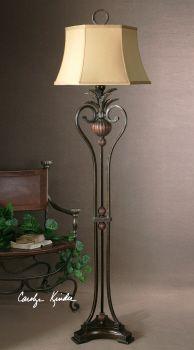 Living room floor lamp between recliner and sofa