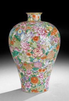 """Chinese Porcelain Baluster Vase, early 20th century, mille fleur decoration, Ch'ien Lung mark, h. 15""""."""