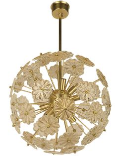 Crystal Fluerette Chandelier  A trio of Italian chandeliers composed of arms holding crystal flowers emanating from a center sphere. Gold plated, accommodates 12 candelabra bulbs. Priced individually. Fixture has been wired. Early 20th century.
