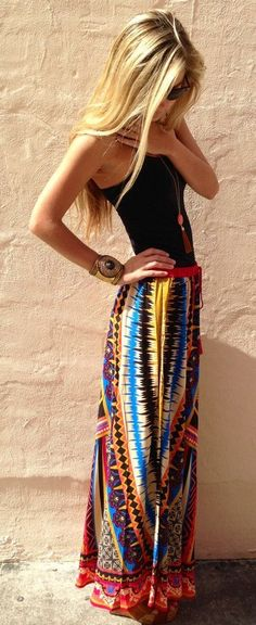 Lovely colorful maxi skirt and black tank #mindfashions #mindstyles