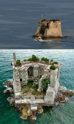 The Scola Tower (Torre di San Giovanni Battista) is a former military building just near Palmaria island in Portovenere, Porto La Spieza Province, Italy Abandoned Castles, Abandoned Houses, Abandoned Places, Beautiful Castles, Beautiful World, Beautiful Places, House Beautiful, Places To Travel, Places To See