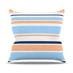 "Alison Coxon ""Jack Tar Pink"" Blue Orange Outdoor Throw Pillow"