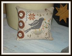 Crow Pinkeep Pincushion Country Stitches by EclecticStitcher, $33.00