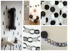 Decorações para a festa preto e branco - Fotos: Pinterest e Carlos Pimenta