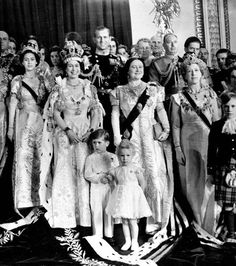 An official photo of the newly coronated Queen Elizabeth with her closest family. In the photo we can see Princess Margaret, The Queen, Prince Philip, Queen Elizabeth the Queen Mother, Prince Charles and Princess Anne.: