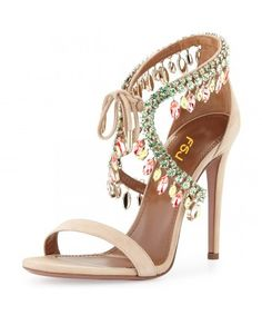share Sequined Stiletto Heel - Pencil heels  Open Toe Eye-catching/ Stylish Beige Paillette Crossed Ankle Straps Sandals  for Ball/ Red carpet