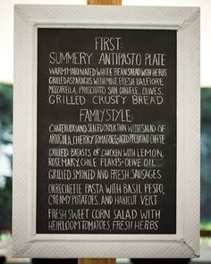 Casual Chalkboard Menu