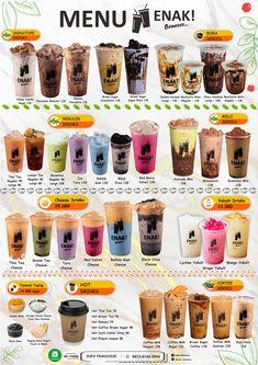 Bubble Tea Menu, Bubble Tea Flavors, Bubble Drink, Bubble Tea Shop, Bubble Milk Tea, Coffee Label, Coffee Menu, Tea Recipes, Coffee Recipes