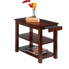 Progressive Rectangular Chairside Table (Chairside Table), Brown