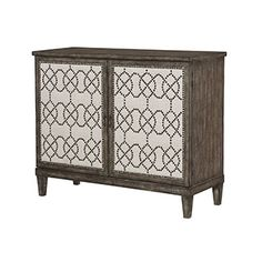 "Item #:	090-700 Description: Linen door fronts, Antique Brass nailhead & hardware, Bark finish, Two doors with one adjustable shelf, Open compartmen   Dimensions:	35.00""H x 43.00""W x 18.00""D"