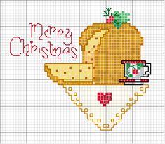 Noël panettone Cross Stitch Charts, Cross Stitch Designs, Cross Stitch Embroidery, Cross Stitch Patterns, Knitting Patterns, Nordic Christmas, Christmas Cross, Christmas Greetings, Christmas Diy