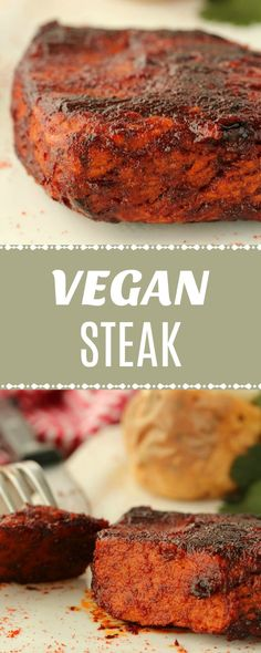 Vegan Steak - tender, juicy and flavorful vegan steak! Perfectly spiced and looking remarkably like the 'real thing', these vegan seitan steaks are deliciously textured, super high in protein and heaps of fun to make! Seitan Recipes, Meat Recipes, Whole Food Recipes, Vegetarian Recipes, Cooking Recipes, Healthy Recipes, Vegetarian Steak, Vegan Chickpea Recipes, Gastronomia