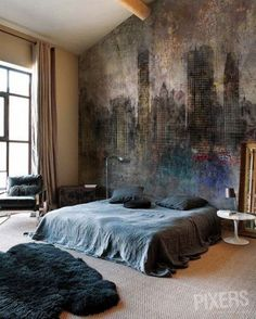 Interesting wall of a faded cityscape in the bedroom