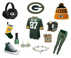 """Green Bay"" by joellem13 on Polyvore featuring G34HER by Carl Banks, Converse, The Bradford Exchange, NIKE, WinCraft, Forever Collectibles and ORLY"