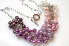 Purple OMBRE Pearl Cluster Necklace by SeagullSmithJewelry on Etsy, $35.00