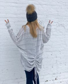 Peace out in the Blanco Stripe Cardi. ($54)  Featuring the Avery Interchangeable Pom Hat.   Buy instore or have it shipped!  FAST & FREE SHIPPING from Ohio Sanitystyle.com 440.893.9279 sales@sanitystyle.com  to order or shop in store   #sanitystyle #sanitychagrinfalls #shoplocal #chagrinfalls #shopchagrinfalls #boutique  #freeshipping #cleveland #clevelandfashion #clevelandstyle #style #shop #cle #thisiscle #love #selloninsta #instasale #fashionpost #beautiful #picoftheday #shopping…