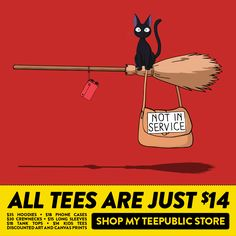 All my @TeePublic designs are on sale starting at $14!  #StudioGhibli #Caturday #Cat