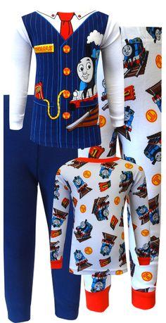 Thomas the Tank Engine Cotton Toddler 4 piece Pajamas All Aboard! These 100% cotton pajamas for toddler boys are designed to lo...