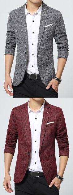 Ericdress Notched Lapel Classic Slim Men's Blazer>Material:Cotton Blends>Length:Standard>Sleeve Length:Long Sleeves > Neckline: Notched Lapel >Sleeve Type:Regular>Closure:One Button>Style:Casual
