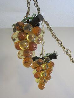 1970u0027s vintage grape lights amber lucite swag lights