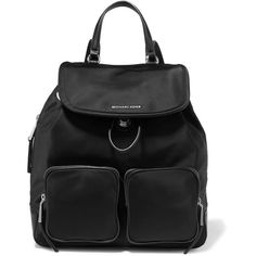 MICHAEL Michael Kors Cara leather-trimmed shell backpack (392 AUD) ❤ liked on Polyvore featuring bags, backpacks, black, leather trim backpack, structured bag, strap backpack, lightweight backpack and slouchy backpack