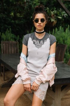 Scalloped double v-neckline. Fully lined with lace hem. Style Material: Polyester/Nylon Color: Grey Model is wearing a small // INSPIRATION // TUCSON FASHION WEEK Best Street Style, Street Style Outfits, 90s Fashion, Autumn Fashion, Fashion Outfits, Fashion Trends, Denim Shop, Cher Horowitz, Grunge Style