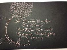 Pink calligraphy, black envelope, decorated envelope