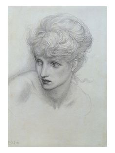 Study of a Girl's Head (See also 198346) reproduction procédé giclée par Sir Edward Burne-Jones sur AllPosters.fr