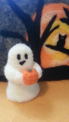Needle felted ghost with pumpkin by ivyRoseWoolArt on Etsy