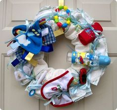 "cute idea for a ""Welcome Home New Baby"" wreath"