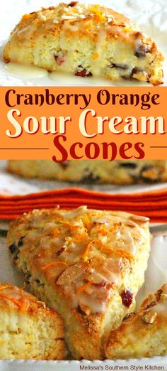 Cranberry Orange Sour Cream Scones - melissassouthernstylekitchen.com