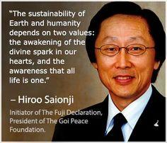Hire Saionji ~ Initiator of The Fuji Delcaration. President of The Goi Peace Foundation.