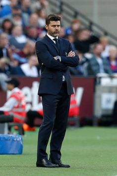 Tottenham Hotspur's Argentinian Manager Mauricio Pochettino stands on the sideline during the English Premier League football match between West Ham United and Tottenham Hotspur at the London. Alpha Man, Mauricio Pochettino, Tottenham Hotspur Fc, English Premier League, West Ham, Football Match, North London, Man Crush, Management