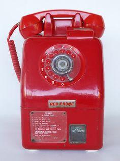 Vintage RETRO 60s Rare 10c Model RED PAY PHONE Telephone Dial Original