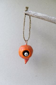 Polymer Clay Ornament - The Orange Monster - Polymer Clay Sculpture - Spooky Home Decor - Fantasy Creature - Halloween Decor - OOAK