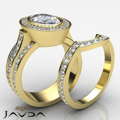 Oval Diamond Bridal Set Engagement Halo Pave Ring GIA H SI1 14k Yellow Gold 3.3ct