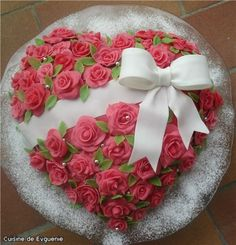 Beautiful heart rose cake with a bow