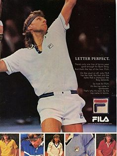 Magazine Ad in plastic sleeve. Jimmy Connors, Football Boots, Football Fans, Tennis Rafael Nadal, Tennis Photos, Professional Tennis Players, Vintage Tennis, Bjorn Borg, Match Point