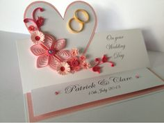 Heart shape quilling paper wedding congratz greeting card designs - quillingpaperdesigns