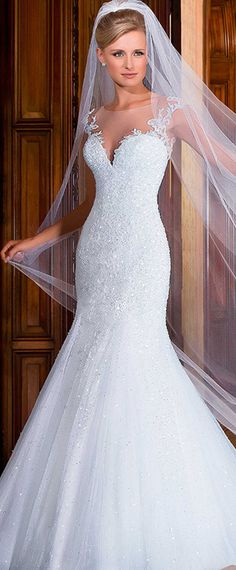 Brilliant Tulle Jewel Neckline Mermaid Wedding Dresses with Beadings