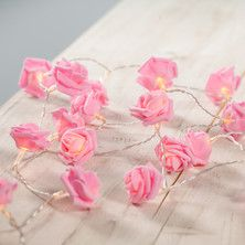 30 LED Pink Rose Fairy Lights On Clear Cable