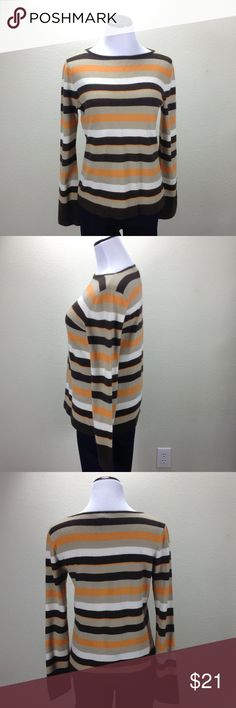 Jones New York Orange & Brown Striped Sweater Wool blend orange, brown and cream horizontal striped long sleeve sweater.  In good condition with a small spot that is difficult to see (see pics). Thanks for your interest!  Please checkout the rest of my closet. Jones New York Sweaters Crew & Scoop Necks