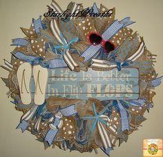 Life Is Better in Flip Flops Burlap and Mesh Wreath Beachy