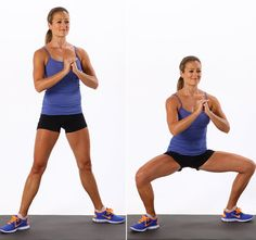 Wide Squat: Widening your stance while doing squats will target your glutes differently and will also tone your thighs. Hold a pair of dumbbells in your hands with your arms straight and your palms facing away from you. If you don't have dumbbells, keep your hands clasped in front of your chest as shown. Step your feet apart so there's about 20 inches between your heels. Point your toes out slightly. Bend your knees and elbows, keep your shoulders over your hips, and lower down so your…