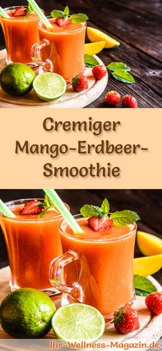 Mango-Erdbeer-Smoothie – gesundes Rezept zum Abnehmen Make your own mango and strawberry smoothie – a healthy smoothie recipe for losing weight for breakfast smoothies or filling diet meals … Strawberry Mango Smoothie, Fruit Smoothies, Healthy Smoothies, Detox Breakfast, Breakfast Smoothies, Fat Burning Detox Drinks, Clean Eating Snacks, Healthy Recipes, Eat Healthy